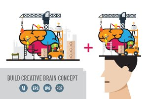 Build Creative Brain Vector Concept