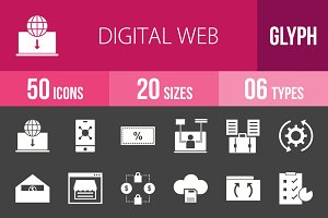 50 Digital Web Glyph Inverted Icons