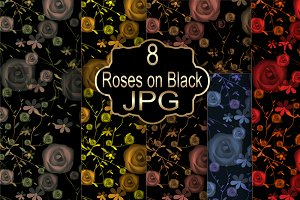 "Gift wrapping paper ""roses on black"""