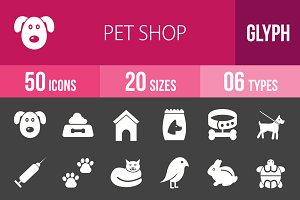 50 Pet Shop Glyph Inverted Icons