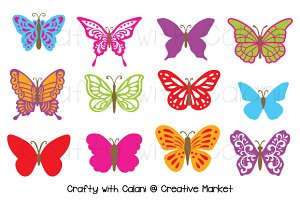 Butterfly Clipart in Candy Color