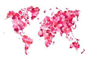 World map of pink rose petals
