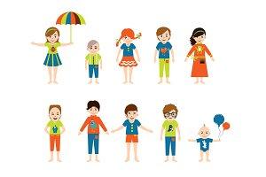 Children flat illustration.