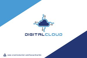 Digital Cloud Logo Template