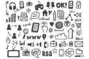 Social media doodle icons set