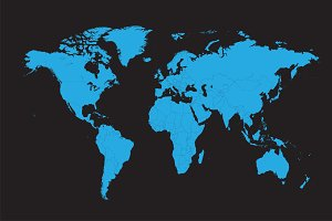 World map vector with borders