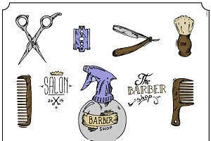 Barber shop. Vector set. Hand drawn.