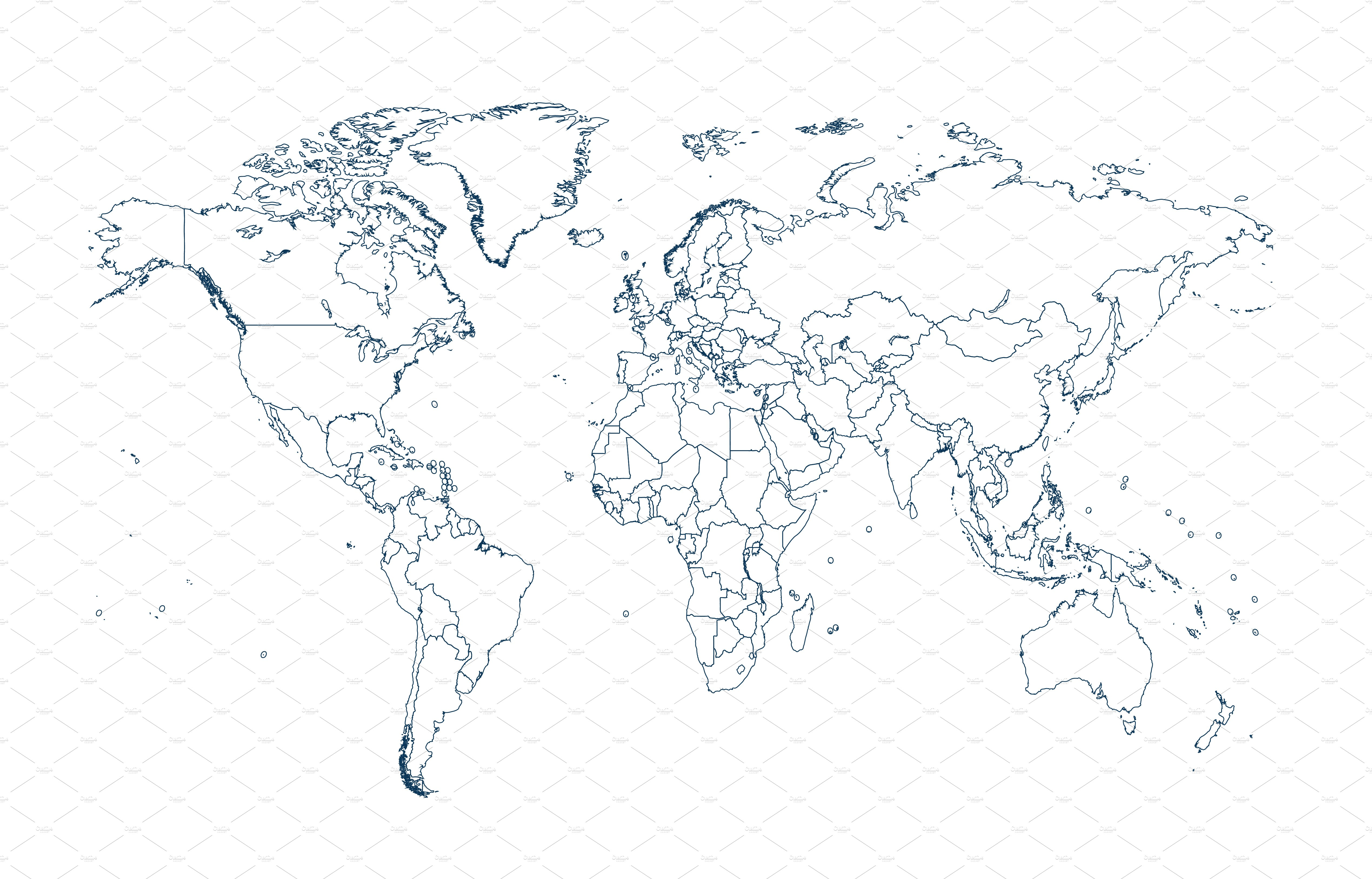 world map with borders white vector