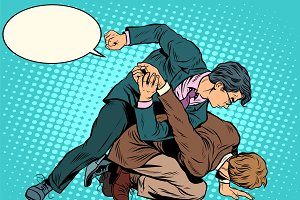 Men businessmen fighting