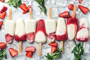 Strawberry ice cream popsicles