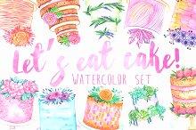 Watercolor cake set