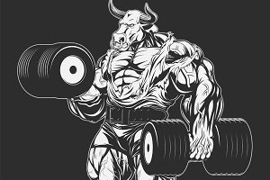 Strong bull with dumbbells