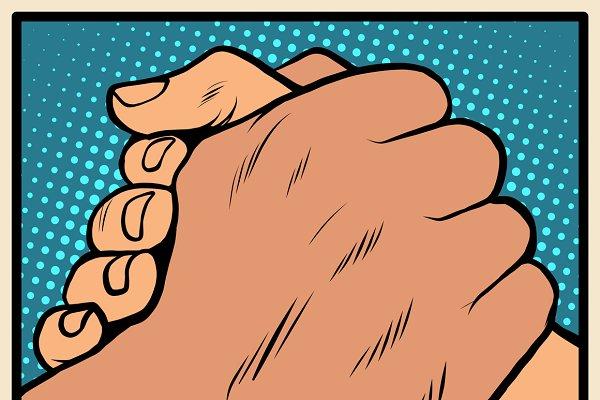 White black solidarity handshake