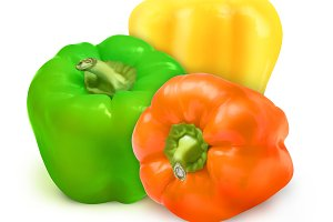 Green Orange and Yellow Peppers