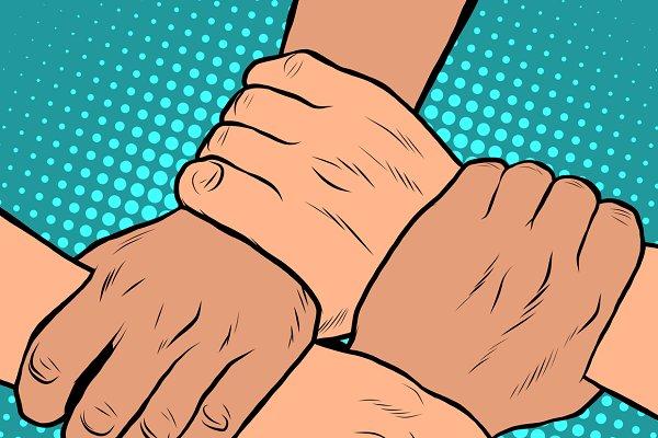 solidarity handshake stop racism