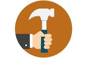 Man hand holding hammer