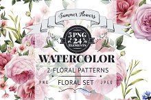 2 Flowers patterns & floral set