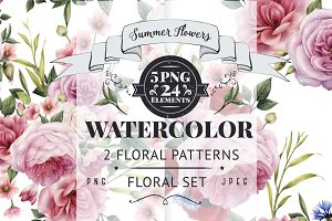 2 Flowers patterns & floral set