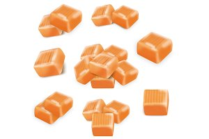 Square candy caramels set