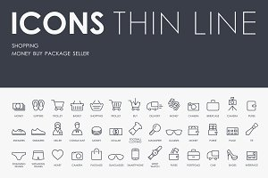 Shopping thinline icons