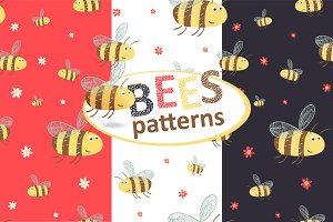 Seamless patterns with funny bees