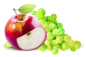 Red Apple and green grape isolated