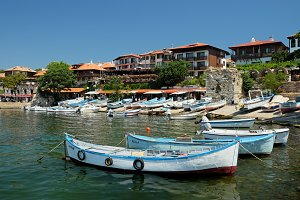 View on southern harbour in Nessebar