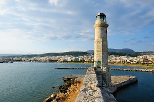 Old lighthouse in city of Rethymno