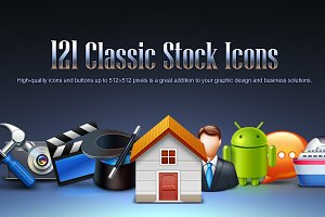Bokbokstars 121 Classic Stock Icons