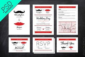 Mustache and Lips Wedding Stationery