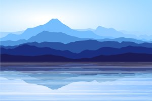Blue Mountains and Sea. Vector.