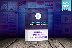 8 Card Mockups on Wooden Background