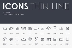 Football thinline icons