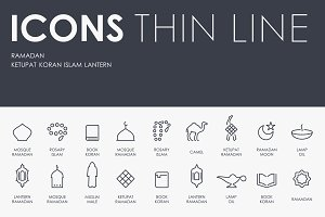 Ramadan thinline icons