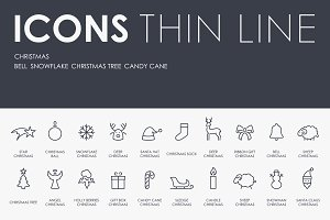 Christmas thinline icons