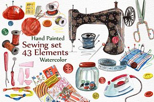 Watercolor sewing set clipart