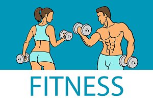 Fitness with muscled man and woman