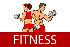 man and woman of fitness vector