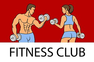 Man and woman Fitness template