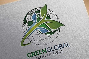Green Global Ecology logo template