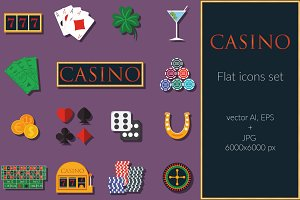 Casino gambling flat icon vector set