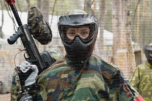 Paintball player during the game