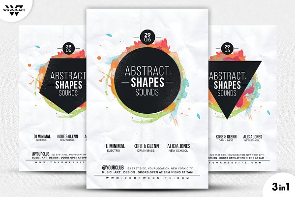 3in1 ABSTRACT MUSIC Flyer Template