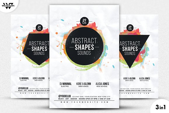 3in1 Abstract Music Flyer Template Flyer Templates Creative Market