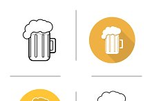 Glass of beer icons. Vector