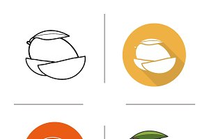 Mango slice icons. Vector