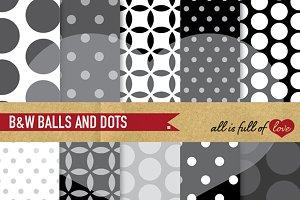 Black & White Polka Dots Backgrounds