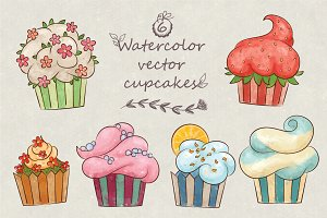 Vector watercolor cute cupcakes