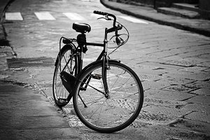 Vintage bicycle on an old street in Florence. Tuscany. Italy.