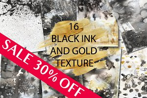 16 black ink ang gold background